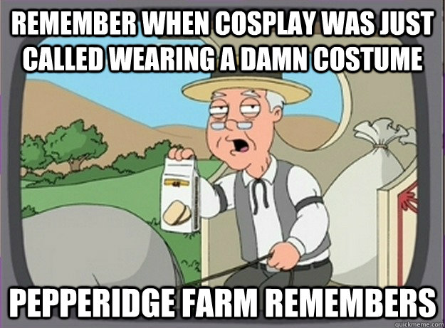 Remember when cosplay was just called wearing a damn costume Pepperidge farm remembers