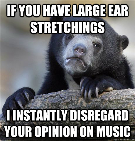if you have large ear stretchings i instantly disregard your opinion on music - if you have large ear stretchings i instantly disregard your opinion on music  confessionbear