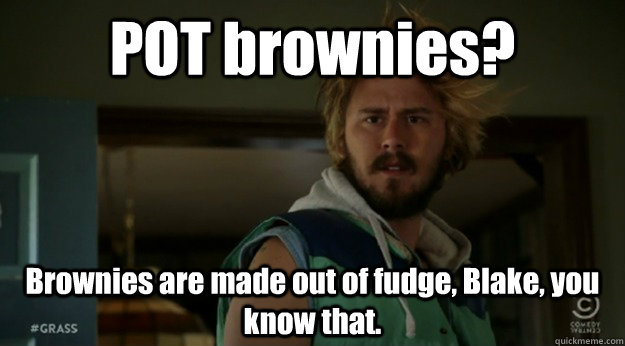 0017a212e748e15adf37901b9c59b9a525336a335643056a27a726fd6bbb131f pot brownies? brownies are made out of fudge, blake, you know that,Blake Meme