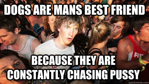 Dogs are mans best friend Because they are constantly chasing pussy - Dogs are mans best friend Because they are constantly chasing pussy  Sudden Clarity Clarence