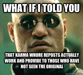 What if i told you that karma whore reposts actually work and provide to those who have not seen the original - What if i told you that karma whore reposts actually work and provide to those who have not seen the original  WhatIfIToldYouBing