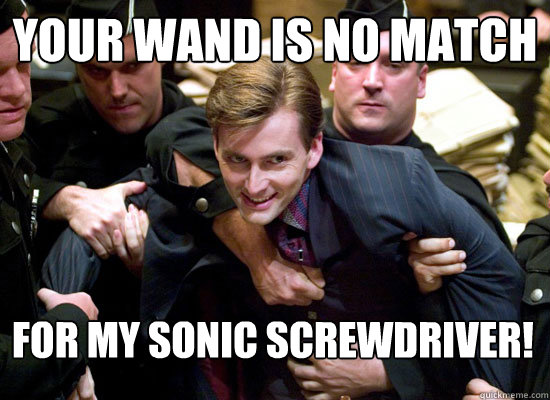 your wand is no match  for my sonic screwdriver!  david tennant