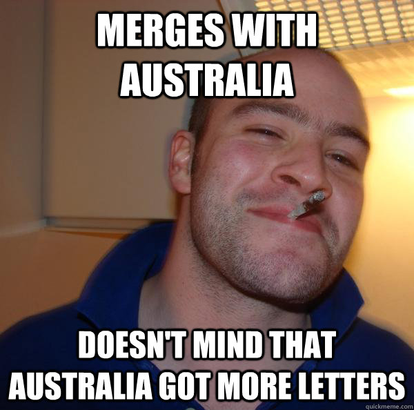 Merges with Australia Doesn't mind that Australia got more letters - Merges with Australia Doesn't mind that Australia got more letters  Misc