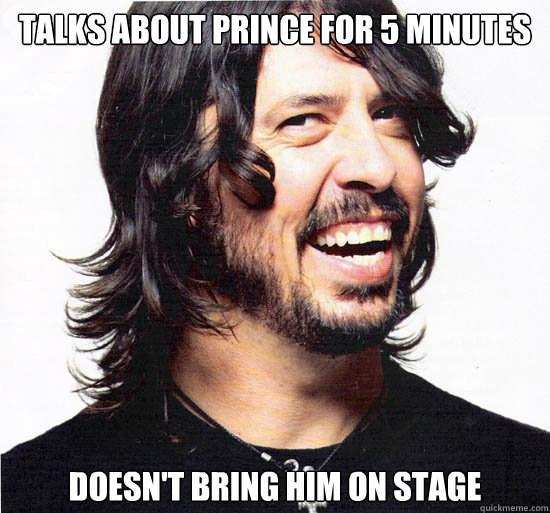 Talks about prince for 5 minutes doesn't bring him on stage