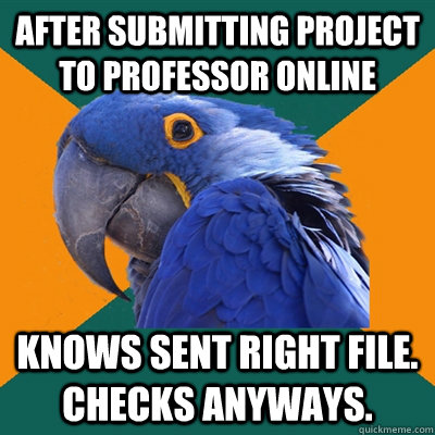 After submitting project to professor online Knows sent right file. Checks anyways. - After submitting project to professor online Knows sent right file. Checks anyways.  Paranoid Parrot
