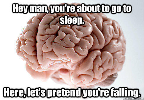 Hey man, you're about to go to sleep. Here, let's pretend you're falling.  - Hey man, you're about to go to sleep. Here, let's pretend you're falling.   Scumbag Brain