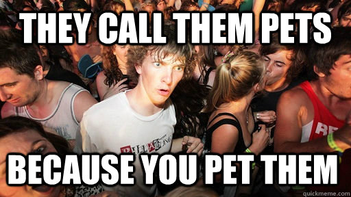 They call them pets because you pet them - They call them pets because you pet them  Sudden Clarity Clarence