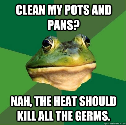 Clean my pots and pans? Nah, the heat should kill all the germs. - Clean my pots and pans? Nah, the heat should kill all the germs.  Foul Bachelor Frog