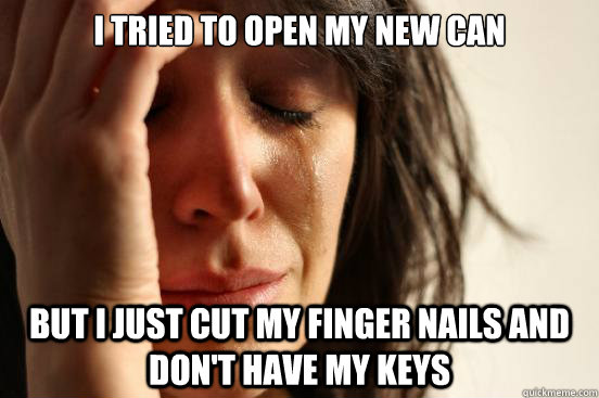 I tried to open my new can but I just cut my finger nails and don't have my keys - I tried to open my new can but I just cut my finger nails and don't have my keys  First World Problems