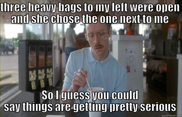 #kickboxing problems - THREE HEAVY BAGS TO MY LEFT WERE OPEN AND SHE CHOSE THE ONE NEXT TO ME SO I GUESS YOU COULD SAY THINGS ARE GETTING PRETTY SERIOUS Things are getting pretty serious