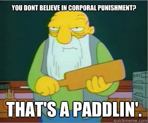 00972e886dce3ff9f4fd54e7788b710493488ed615246d5e9be0e1bb2b2a3d25 you dont believe in corporal punishment? that's a paddlin