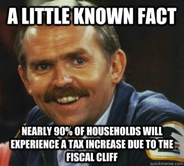A little known fact Nearly 90% of households will experience a tax increase due to the fiscal cliff  Fiscal Cliff Clavin