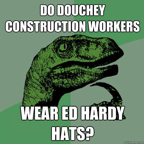 Do douchey construction workers wear Ed Hardy Hats? - Do douchey construction workers wear Ed Hardy Hats?  Philosoraptor