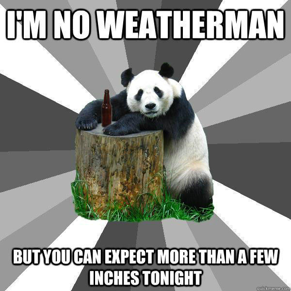 I'M NO WEATHERMAN BUT YOU CAN EXPECT MORE THAN A FEW INCHES TONIGHT - I'M NO WEATHERMAN BUT YOU CAN EXPECT MORE THAN A FEW INCHES TONIGHT  Pickup-Line Panda
