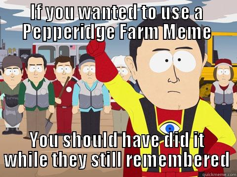IF YOU WANTED TO USE A PEPPERIDGE FARM MEME YOU SHOULD HAVE DID IT WHILE THEY STILL REMEMBERED Captain Hindsight