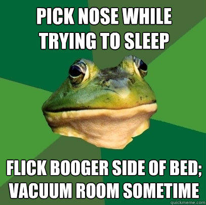 Pick nose while trying to sleep flick booger side of bed; vacuum room sometime - Pick nose while trying to sleep flick booger side of bed; vacuum room sometime  Foul Bachelor Frog