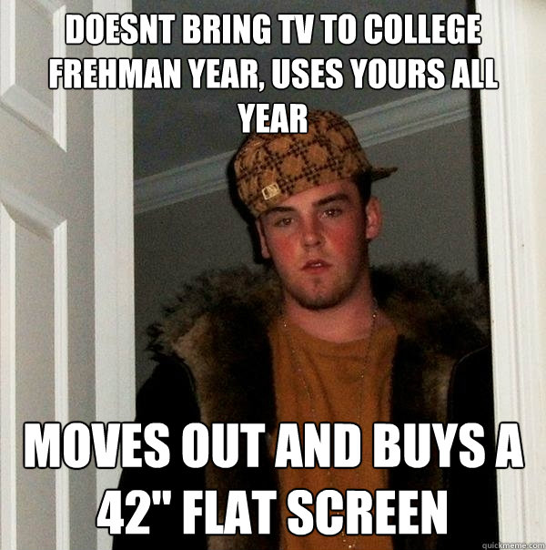 Doesnt bring tv to college frehman year, uses yours all year Moves out and buys a 42