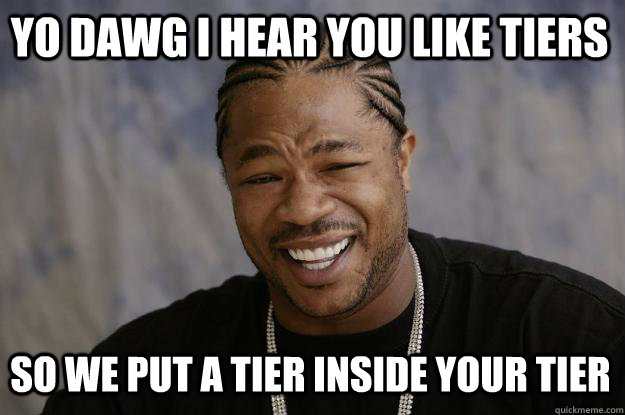 YO DAWG I HEAR YOU LIKE TIERS so WE PUT A TIER inside YOUR TIER  Xzibit meme