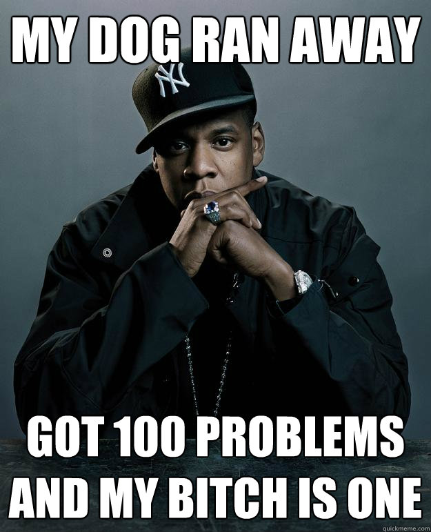 my dog ran away got 100 problems and my bitch is one