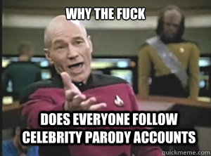 why the fuck Does everyone follow celebrity parody accounts - why the fuck Does everyone follow celebrity parody accounts  Annoyed Picard