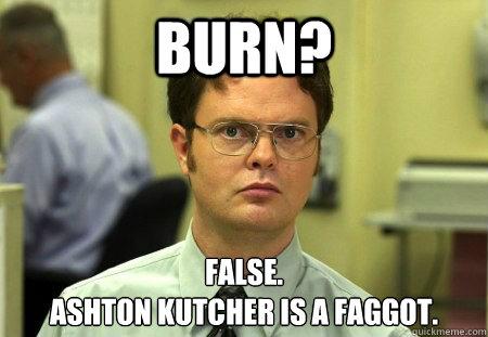 Burn? False. Ashton Kutcher is a Faggot.
