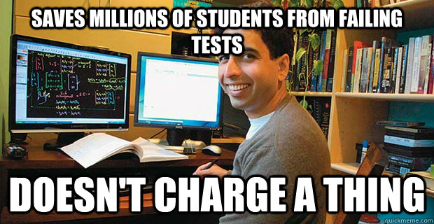 saves millions of students from failing tests  doesn't charge a thing - saves millions of students from failing tes
