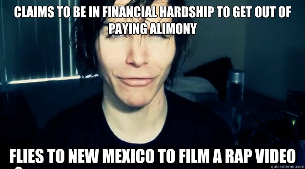 Claims to be in financial hardship to get out of paying alimony flies to New mexico to film a rap video