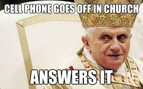 cell phone goes off in church answers it