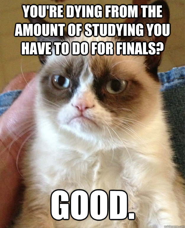 You're dying from the amount of studying you have to do for finals? good.  - You're dying from the amount of studying you have to do for finals? good.   Grump Cat