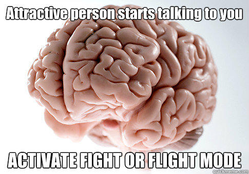 Attractive person starts talking to you ACTIVATE FIGHT OR FLIGHT MODE  - Attractive person starts talking to you ACTIVATE FIGHT OR FLIGHT MODE   Scumbag Brain