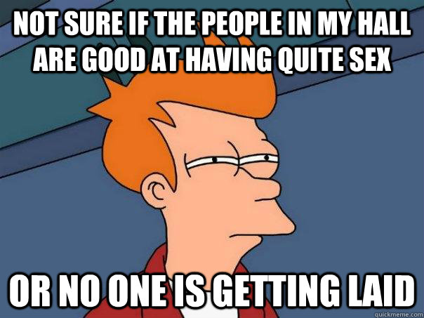 Not sure if the people in my hall are good at having quite sex or no one is getting laid - Not sure if the people in my hall are good at having quite sex or no one is getting laid  Futurama Fry
