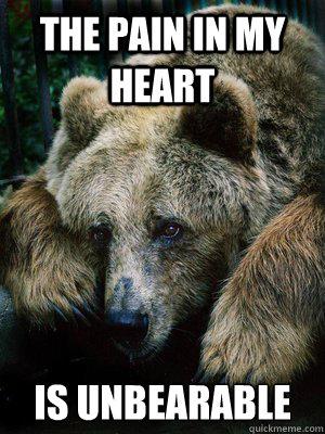 The pain in my heart is unbearable  Sad Bear