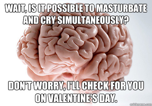 Wait, is it possible to masturbate and cry simultaneously? Don't worry, I'll check for you on Valentine's Day. - Wait, is it possible to masturbate and cry simultaneously? Don't worry, I'll check for you on Valentine's Day.  Scumbag Brain