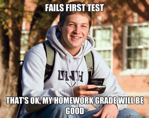 Fails first test That's ok, my homework grade will be good - Fails first test That's ok, my homework grade will be good  College Freshman