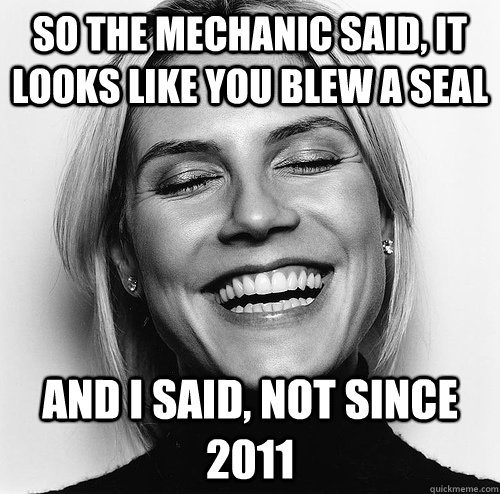So the mechanic said, it looks like you blew a seal And I said, not since 2011 - So the mechanic said, it looks like you blew a seal And I said, not since 2011  Misc