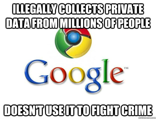 Illegally collects private data from millions of people Doesn't use it to fight crime