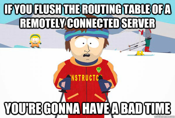 If you flush the routing table of a remotely connected server You're gonna have a bad time