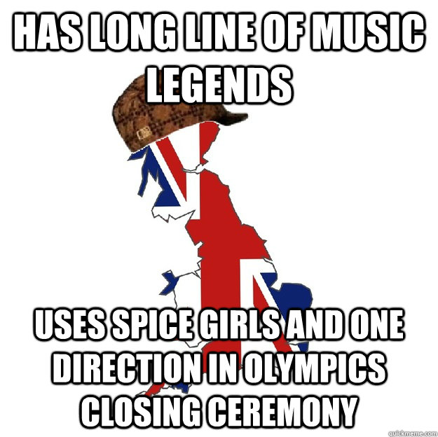 Has long line of Music legends Uses spice girls and One direction in olympics closing ceremony - Has long line of Music legends Uses spice girls and One direction in olympics closing ceremony  Scumbag Britain