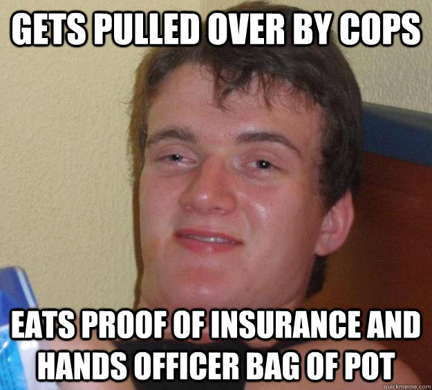 Gets pulled over by cops Eats proof of insurance and hands officer bag of pot - Gets pulled over by cops Eats proof of insurance and hands officer bag of pot  10 Guy