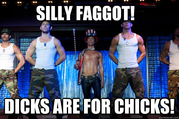 Silly Faggot! Dicks are for chicks!