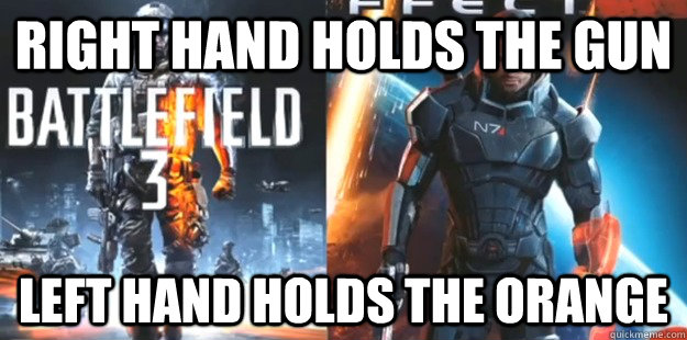 Right hand holds the gun left hand holds the orange - Right hand holds the gun left hand holds the orange  Misc