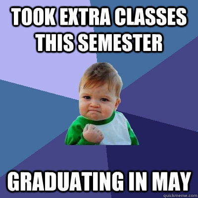took extra classes this semester graduating in may - took extra classes this semester graduating in may  Success Kid