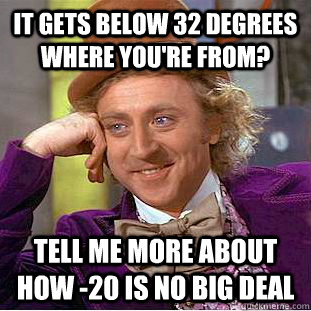 it gets below 32 degrees where you're from? tell me more about how -20 is no big deal - it gets below 32 degrees where you're from? tell me more about how -20 is no big deal  Condescending Wonka
