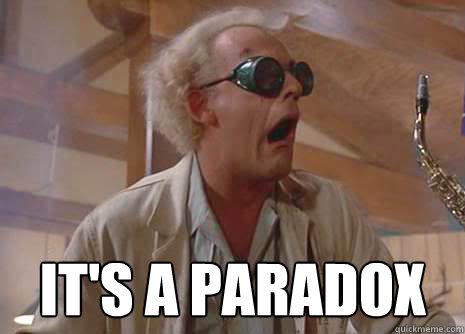 020dd5d92bce2f63f716a66ca69a09621f7d12acd8ed2a50423adac1bc3446d8 it's a paradox doc brown paradox quickmeme