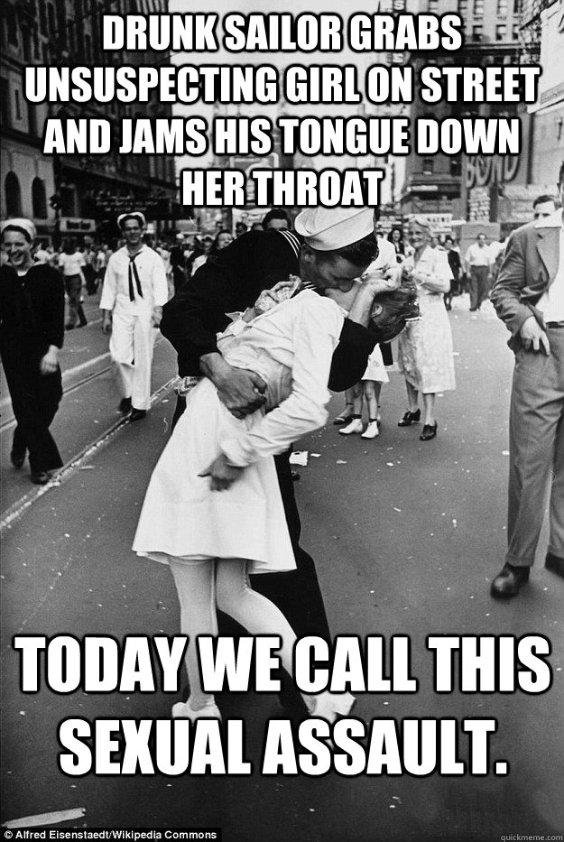 Drunk Sailor grabs unsuspecting girl on street and jams his tongue down her throat Today we call this sexual assault. - Drunk Sailor grabs unsuspecting girl on street and jams his tongue down her throat Today we call this sexual assault.  Rape in Times Square