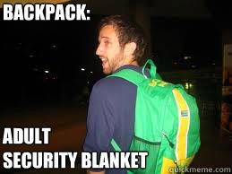 Backpack: Adult Security Blanket  Douchebag Dusty