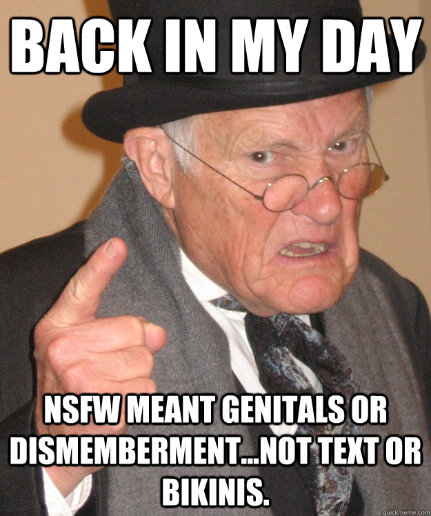back in my day nsfw meant genitals or dismemberment...not text or bikinis.  back in my day