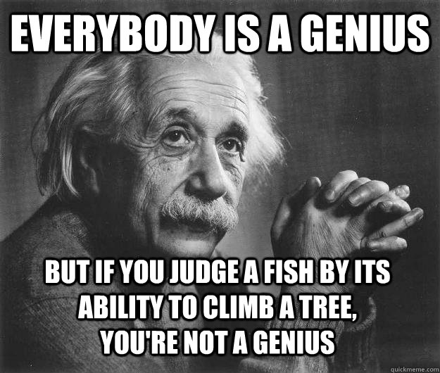 Everybody is a genius But if you judge a fish by its ability to climb a tree, you're not a genius