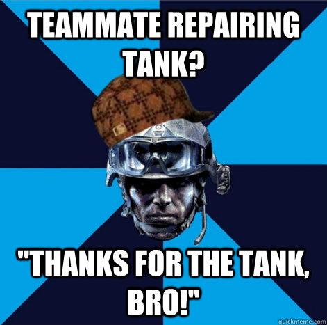 Teammate repairing tank?