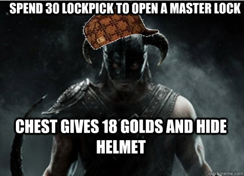 Spend 30 lockpick to open a master lock Chest gives 18 golds and hide helmet